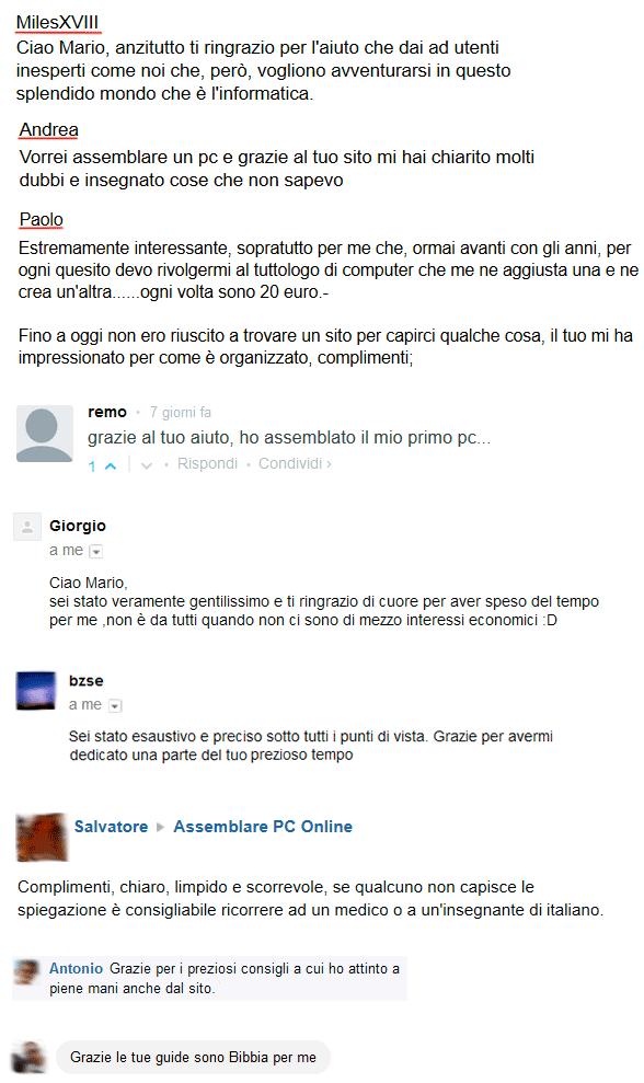 Testimonianze e commenti delle persone che hanno assemblato un PC