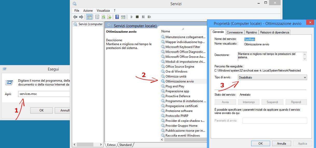 disattivare servizi windows