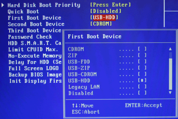 bios boot usb
