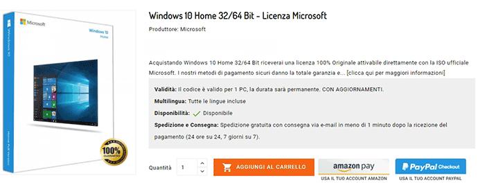 licenza windows 10